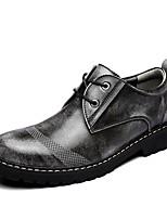 Недорогие -обувь Кожа Весна Осень Обувь для дайвинга Формальная обувь Удобная обувь Туфли на шнуровке для Повседневные Офис и карьера Черный Серый