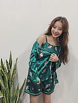Satin & Soie Pyjamas Femme,Sexy Imprimé Satin Vert
