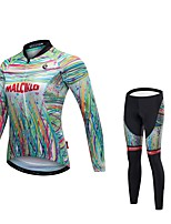 Cycling Jersey with Tights Women's Unisex Long Sleeves Bike Tights Jersey Reflective Strip Fast Dry Quick Dry Anatomic Design