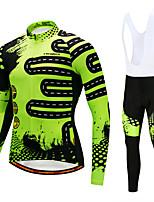 CYCOBYCO Maillot et Cuissard Long à Bretelles de Cyclisme Homme Manches Longues Vélo Pantalon / Surpantalon Maillot Collants Collant à