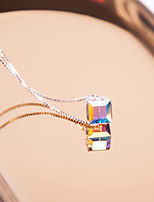 Women's Choker Necklaces Pendant Necklaces Crystal Square Silver Crystal Sweet Elegant Jewelry For Daily Going out