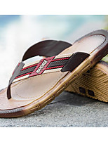 Men's Shoes PVC Leather Summer Light Soles Slippers & Flip-Flops For Casual Brown Black