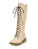 cheap -Women's Shoes Leatherette Spring Fall Comfort Riding Boots Boots Round Toe Mid-Calf Boots For Casual Beige Black