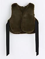 cheap -Girls' Solid Vest,Faux Fur Green