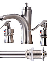 Widespread Waterfall with  Ceramic Valve Two Handles Three Holes for  Nickel Brushed , Bathroom Sink Faucet