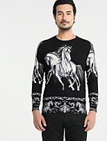 Men's Others Casual Regular Pullover,Print Round Neck Long Sleeves Polyester Autumn Medium Micro-elastic