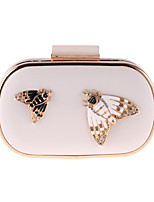 Women Bags PU Evening Bag Butterfly Design Beading Crystals/Rhinestones for Event/Party All Season White Black