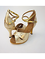 Women's Latin Synthetic Leatherette Heel Indoor Criss-Cross Pattern/Print High Heel Silver Gold Customizable