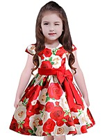Girl's Floral Dress,Cotton Polyester Short Sleeves Casual Blue Red