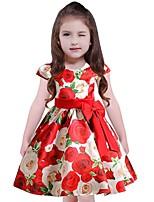 Девичий Платье Хлопок Полиэстер Цветочный принт С короткими рукавами