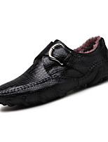 Men's Shoes Nappa Leather Fall Winter Fluff Lining Comfort Loafers & Slip-Ons Buckle For Casual Party & Evening Brown Black