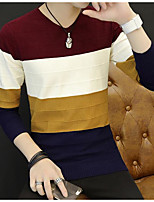 Men's Others Casual Regular Pullover,Color Block Round Neck Long Sleeves Polyester Autumn Medium Micro-elastic