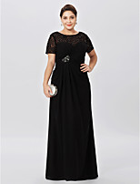 Sheath / Column Bateau Neck Floor Length Chiffon Lace Mother of the Bride Dress with Beading Criss Cross by LAN TING BRIDE®