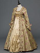 Vittoriano Rococò Donna Per adulto Vestito da Serata Elegante Stile Carnevale di Venezia Oro Cosplay Satin elasticizzato Manica lunga