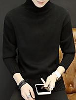 Для мужчин Прочее Простой Обычный Пуловер Однотонный,Хомут Длинный рукав Полиэстер Осень Средняя Слабоэластичная