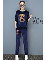 Women's Casual/Daily Simple Winter Set Pant Suits,Solid Round Neck Long Sleeves Polyester
