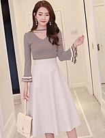 Damen Gestreift Einfach Ausgehen Lässig/Alltäglich T-shirt Rock Anzüge,V-Ausschnitt Herbst Langarm Baumwolle