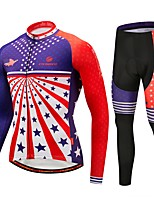 Cycling Jersey with Tights Unisex Long Sleeve Bike Clothing Suits Thermal / Warm Winter Sports Polyester Spandex Fleece Fashion Winter