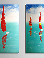 cheap -Hand-Painted Landscape Vertical,Rustic Modern Two Panels Canvas Oil Painting For Home Decoration