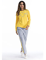 Women's Sports & Outdoor Daily Street chic Winter Fall/Autumn Hoodie Pant Suits,Striped Round Neck Long Sleeve Cotton