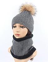 Для женщин Для вечеринки На каждый день Широкополая шляпа Лыжная шапочка,Зима Осень Шерсть Кроличий мех Акрил Однотонный Чистый цвет