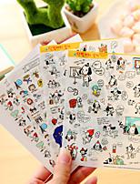 4 unids / set etiqueta engomada del diario del perro de la historieta etiqueta engomada del teléfono de la etiqueta engomada del libro de recuerdos