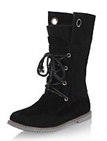 Недорогие -Для женщин Обувь Дерматин Зима Удобная обувь Армейские ботинки сутулятся сапоги Ботинки Круглый носок Сапоги до середины икры Назначение