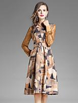 preiswerte -Damen A-Linie Hülle Kleid-Ausgehen Lässig/Alltäglich Einfach Street Schick Blumen Rundhalsausschnitt Knielang Langärmelige Polyester