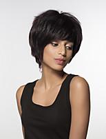 Недорогие -жен. Человеческие волосы без парики Черный Короткий Лёгкие волны Боковая часть