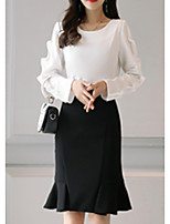 Women's Daily Work Casual Fall Blouse Skirt Suits