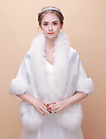 cheap -Sleeveless Faux Fur Wedding Party / Evening Women's Wrap With Beading Shawls