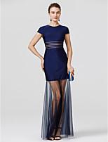 Trompette / Sirène Bijoux Longueur Sol Tulle Jersey Soirée Formel Robe avec Plissé par TS Couture®