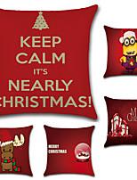 economico -5 pezzi Cotone/Lino Copricuscino Federa,Novità Di tendenza Natale Retrò Tradizionale/Classico Euro Natale