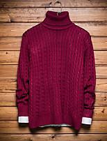 Для мужчин На каждый день Обычный Пуловер Однотонный,Хомут Длинный рукав Другое Зима Осень Средняя Слабоэластичная