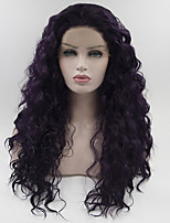 cheap -Women Synthetic Wig Lace Front Medium Length Long Dark Wine Natural Wigs Costume Wig