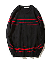 Men's Daily Daily Wear Regular Pullover,Solid Round Neck Long Sleeves Wool Polyester Autumn Medium Micro-elastic