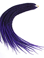 "cheap -Crochet Hair Braids 1pack Hair Braid Box Braids 24"" African Braids Ombre Braiding Hair Synthetic Hair Black/Purple Black/Blue"