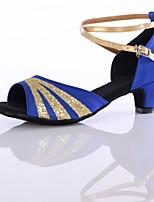 Women's Latin Customized Materials Heel Indoor Splicing Low Heel Black Fuchsia Red Blue 1