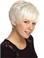 cheap -Women Human Hair Capless Wigs Beige Blonde//Bleach Blonde White Medium Auburn Natural Black Short Straight Side Part