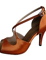 Women's Latin Satin Sandal Heel Professional Customized Heel Brown Customizable