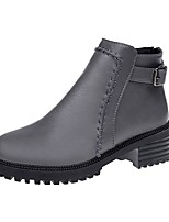 cheap -Women's Shoes PU Fall Winter Combat Boots Boots Round Toe Booties/Ankle Boots For Casual Brown Gray Black