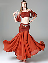Belly Dance Outfits Women's Performance Rayon Lace Lace Tiered Half Sleeve Dropped Skirts Tops