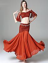 Danza del Vientre Accesorios Mujer Actuación Rayón Encaje Encaje A Capas La mitad de manga Cintura Baja Faldas Tops