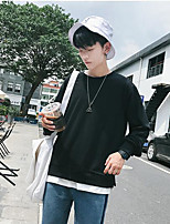 cheap -Men's Daily Going out Sweatshirt Solid Round Micro-elastic Polyester ¾ Sleeve Winter Fall
