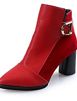 cheap -Women's Shoes PU Fall Fashion Boots Boots Pointed Toe Mid-Calf Boots For Casual Red Black