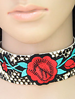 cheap -Women's Floral Bohemian Fashion Choker Necklace Leather Alloy Choker Necklace , Party Daily