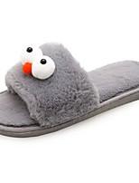 Women's Shoes PU Winter Fur Lining Comfort Slippers & Flip-Flops Open Toe For Casual Gray Black