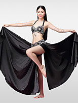 Belly Dance Outfits Women's Performance Cotton Polyester Satin Bead Crystals/Rhinestones Split Skirts Bra Belt