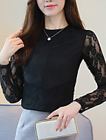 cheap -Women's Daily Going out Boho Winter Fall Blouse,Solid Crew Neck Long Sleeves Polyester Medium