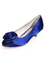 cheap -Women's Shoes Silk Spring Summer Basic Pump Wedding Shoes Low Heel Peep Toe Applique Buckle for Wedding Party & Evening Silver Beige Dark